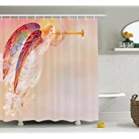Fantasy House Decor Shower Curtain Set , Pure Angel Saint Raphael with His Flask Wings Prayer Protection Holy Hope Theme Art, Bathroom Accessories, 84 Inches Extralong, Multi