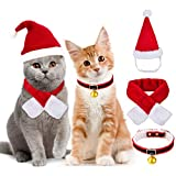 Legendog Katten kerstmuts kat kerstkostuum kat kerstmuts met sjaal kraag stropdas bel, verstelbaar, 3 stuks kat kerstoutfit voor katten en kleine hond