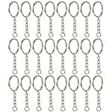 Willbond 50 Pieces Key Ring Key Chain Ring Split Rings Round Edged Keyrings with 4 Link Chain, 1 Inch Diameter