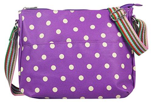 Kukubird vari Poodle farfalla fiori stelle polkadots pattern & Rainbow Strap Sling crossbody Messenger scuola palestra Bag Polka Dot Purple
