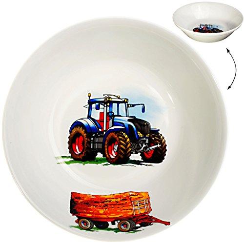 Unbekannt großer Suppenteller / Müslischale / hoher Teller -  Traktor - Trecker mit Anhänger - Bauernhof  - Ø 18,5 cm / 500 ml - aus Porzellan / Keramik - tiefer Früh..