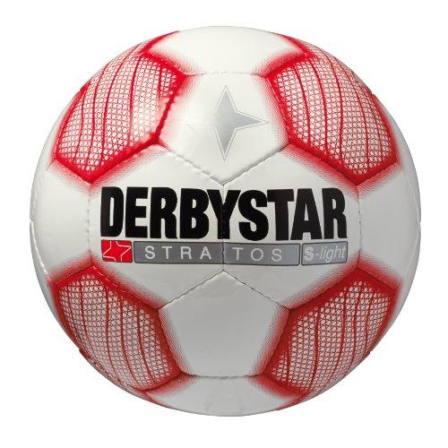 Derbystar Fußball Stratos S-Light, Kinder Trainingsball, Ball Größe 4 (290 g), weiß rot, 1284 (Mini-gewicht-verlust)
