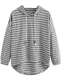 VJGOAL Mujeres otoño Plus Size Moda Raya con Bolsillos Casual Sweatshirt Manga Larga Crop Jumper Pullover Tops