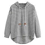 VJGOAL Mujer otoño Plus Size Moda Raya con Bolsillos Casual Sweatshirt Manga Larga Crop Jumper Pullover Tops (Gris, M)