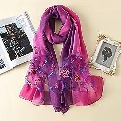 AHUIOPL Ahuiop Luxus Frauen Schal Large Size Silk Schals Schal und Wraps Hohe Qualität Stickerei Bandana Foulard Weiblich, C7