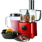 Andrew James Food Processor In Red, 700 Watts, 7 Attachments, 1.4L Processor Bowl, 1.8L Blender Jug
