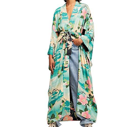 Streifen-kimono Top (Amcool Strandkleid Damen Kurzarm Druck Strand Florale Boho Chiffon Kimono Strand Jacke Strand Chiffon Bluse Tops Cardigan Beachwear Bikini Cover Up Maxikleid)