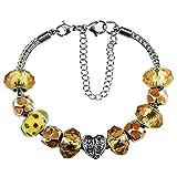 White Birch Cristal Swarovski Bijoux Femme Charm Bracelet Perles Pour Pandora pour les pour les Femme Filles Yellow