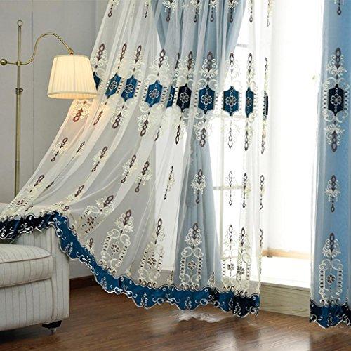 MFFACAI Vorhang Einfach Modern Doppelt Garn Stanztyp Dreidimensional Applique Schattierung Vorhang Boden bis zur Decke Windows Leinen Vorhänge aus Baumwolle Wohnzimmer Schlafzimmer Königsblau, m