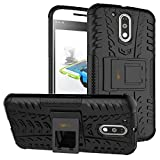 Heartly Tough Hybrid Flip Kick Stand Spider Hard Dual Shock Proof Rugged Armor Bumper Back Case Cover For Motorola Moto G Plus 4th Gen / Moto G4 Plus / Moto G4 – Rugged Black
