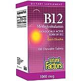 Natural Factors, B12 méthylcobalamine, 1000 mcg, 90 comprimés à croquer