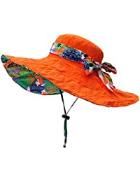 Mujer Sol Verano Algodón Sombrero De Ala Ancha Tapa Abatible Upf 50 +  Barbilla Manera Gorro 584789870ce