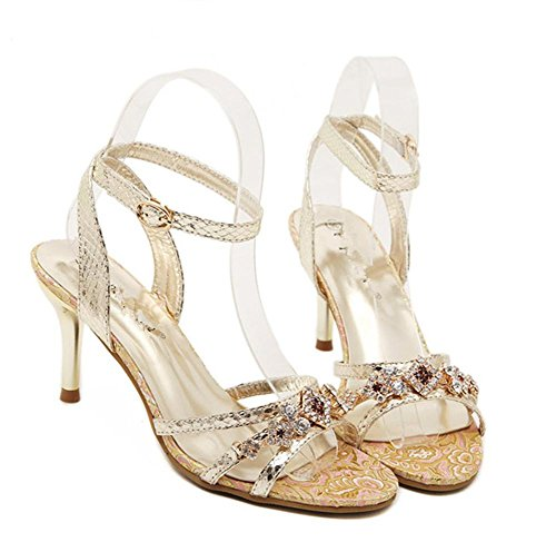 YMXJB Mode Coupe strass chaussures femmes sandales à talons hauts Gold