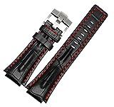 [Richie Sangle] 26mm18mm (Lug Largeur) Cuir Noir Ligne Rouge Bracelet de montre...