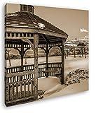 deyoli wunderschöner Pavillon im Schnee im Format: 60x60 Effekt: Sepia als Leinwandbild, Motiv auf Echtholzrahmen, Hochwertiger Digitaldruck mit Rahmen, Kein Poster oder Plakat