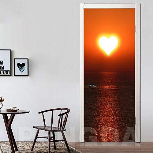 3D türaufkleber bad - DIY Wandbild Wasserdichte Tapete Liebe Selbstklebende Tür Aufkleber Gedruckt Bild Renovierung Seascape Neue Schlafzimmer Dekoration - DIY Druck Vinyl Abnehmbare
