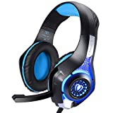 Samoleus 3,5 mm Stereo Gaming LED Beleuchtung Over Ear Kopfh�rer mit Mikrofon f�r PS4 PC Computer Spiel mit Noise Cancelling & Lautst�rkeregelung (Blau) Bild