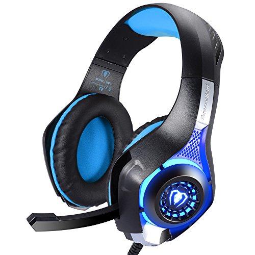 Samoleus 3,5 mm Stereo Gaming LED Beleuchtung Over Ear Kopfhörer mit Mikrofon für PS4 PC Computer Spiel mit Noise Cancelling & Lautstärkeregelung (Blau)