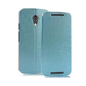 Premium Luxury PU Leather Flip Stand Back Case Cover For Motorola Moto G2 G 2nd Generation XT1068 - Power Blue