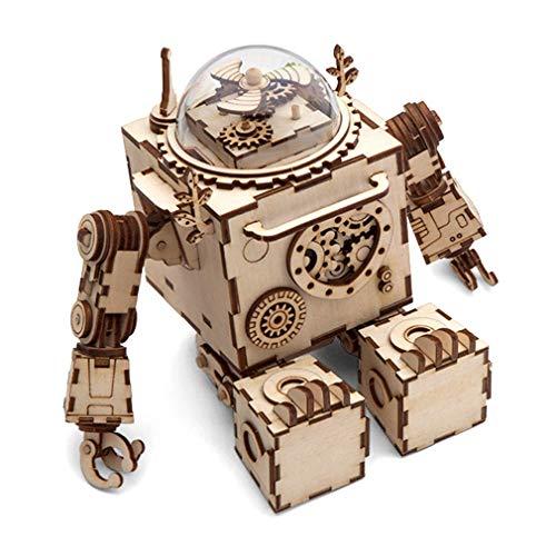 Holzspielzeug Roboter Modell Spieluhr Handbuch DIY montiert kreative Geschenke