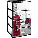 Gran plástico apilable Set de 4cajones con cristal frontal decorado Londres, negro, juego de 21