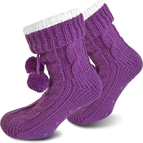 normani Damen Warme Dicke Wintersocken mit Innenfell Teddyfutter und Antirutschsohle Farbe Lila Größe 36/40