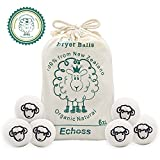 Echoss Wool Dryer Balls Organic (6 Pack XL) 100% Pure New Zealand Wool, Reusable Natural Non-Toxic Fabric Softener Static Reducer Reduces Drying Time