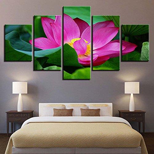 Décoration de la Maison Moderne Toile HD Prints 5 Pièces Fleur De Lotus Mur Art Modulaire Photos Usine Minimalisme Oeuvre Affiche