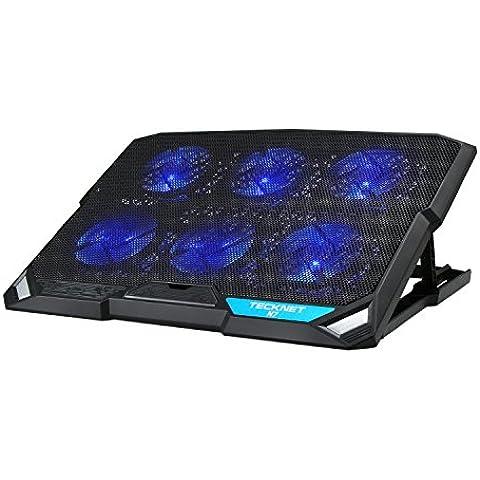 TeckNet LED Base de refrigeración para ordenador portátil, con 6 ventilador silencioso (hasta 15.6
