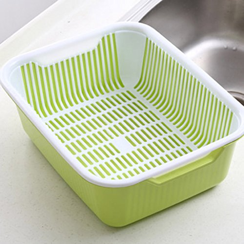 Pratique Gadgets Cuisine Double couche Dripping Sieve Laver les légumes Les fruits Fruit Bowl Bassin Lek Dish plastique panier Rectangle Filtre panier YYdy-Kitchen tools ( couleur : Vert )