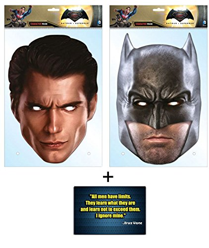 Batman v Superman: Dawn of Justice / Justice League Doppelpack Karte Partei Gesichtsmasken (Masken) - Enthält 6X4 (15X10Cm) (Kostüm Batman Affleck)
