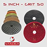 STADEA Grit 2000 (5 Pieces) 5″ Diamond Polishing Pads for Granite Marble Concrete Stone polishing Wet Grinder