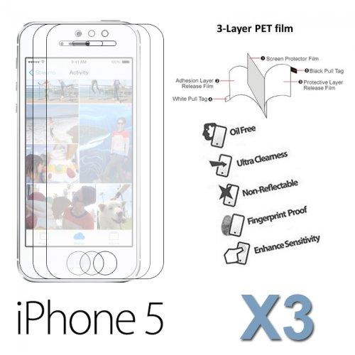 OBiDi - Sand Surface W Shape Hard Back Cover Case / Housse pour Apple iPhone SE / Apple iPhone 5S / 5 - Arc-en-ciel avec 3 Film de Protection et Stylet Orange