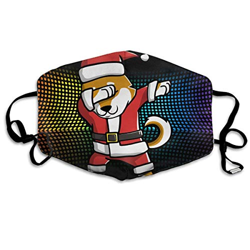 WBinHua Masken, Masken für Erwachsene, Mask Face, Mouth Mask, Breathable Mask Anti Dust, Unisex Dabbing Shiba Inu Ugly Christmas Printed Cotton Mouth-Masks Face Mask Polyester Anti-dust Masks