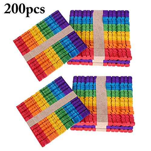 Joyibay 200 STÜCKE Kinder Holz Handwerk Stick DIY Farbige Jumbo Stick Popsicle Stick für Kinder