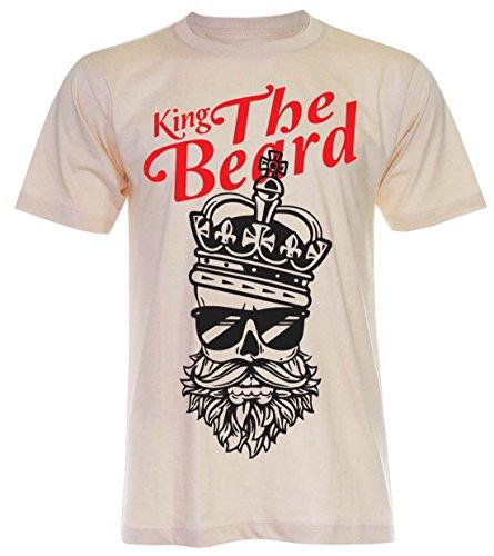 PALLAS Unisex's King the Beard Vintage Funny T Shirt Light Beige