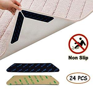 Jerbro Antirutschmatte für Teppich, 24 Stück 3M Klebstoff Anti Rutsch Teppichunterlage Teppich Ecke rutschfest…