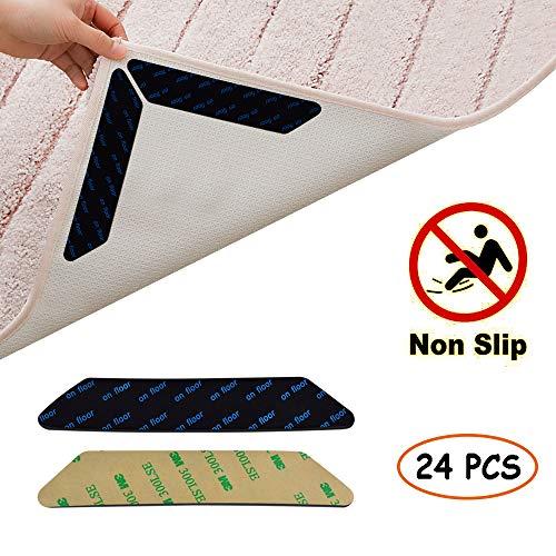 Jerbro Antirutschmatte für Teppich, 24 Stück 3M Klebstoff Anti Rutsch Teppichunterlage Teppich Ecke Rutschfest Teppichstopper wiederverwendbar Rutschschutz für Teppich
