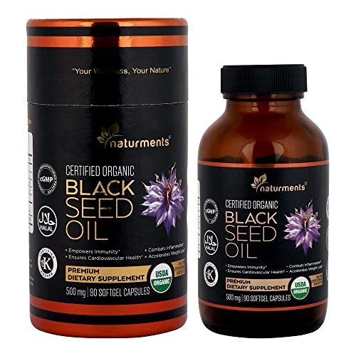Schwarzkümmelöl Kapseln: 500 Mg Bio, kaltgepresst, Native Extra Nigella Sativa Premium Nahrungsergänzungsmittel - Rein, nicht gentechnisch verändert, koscher, Halal Kalonji Öl - 90 Softgels