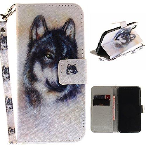 "MOONCASE iPhone X Housse, Built-in Étui TPU Anti-choc Protection [Colorful Painting] Coque Case Flip Portefeuille Cuir avec Support pour iPhone X 5.8"" Dog Wolf"