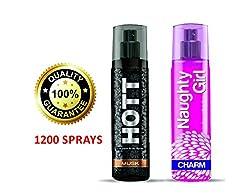 Hott MUSK & Naughty Girl CHARM Perfume Combo For Couple (1200 Sprays Each)