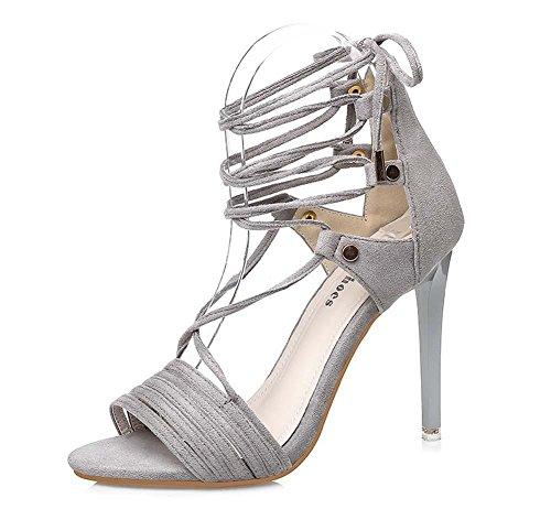 NobS Open Toe Incrociate Cinghia Sandali Tacchi Alti Bow Pompa Stiletto Grey