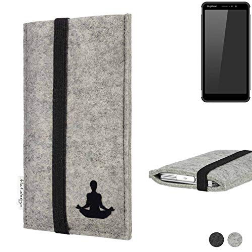 flat.design Handy Hülle Coimbra für Ruggear RG850 - Yoga Asana Lotussitz Tasche Case Filz Made in Germany hellgrau schwarz