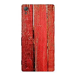 Red Bar Wood Print Back Case Cover for Xperia Z3 Plus