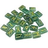 GGSGS Juego de Piedras de runas de aventurina Verde, Piedras Preciosas caídas con Palabras de runas talladas para la adivinación, Reiki de sanación con Cristales