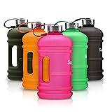 Tritan 2,2 Liter Water Jug XXL Trinkflasche von Supplify – Sport, Fitness Outdoor Wasser-Flasche, Ohne BPA – Große Auslaufsichere Gym Bottle aus Tritan Plastik – Schwarz, Matt-Transparent Finish