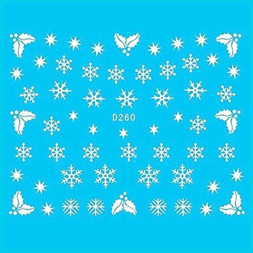 Born Pretty 1 Planche Xmas Water Decals Flocon De Neige Bonhomme De Neige Nail Art