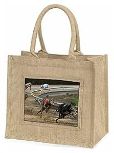 Advanta Windhund Hund Racing Große Einkaufstasche/Weihnachten Geschenk, Jute, beige/natur, 42x 34,5x 2cm