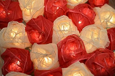 RED AND CREAM ROSE LED FAIRY LIGHTS - POSTED FROM THE UK