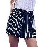 Shorts Hosen Damen Sommer Sport Stretch Slim Fit Stripe Print Elastisch Kurze Hosen Beach Shorts Elegan Strandshorts Sporthose (Marine, XL)